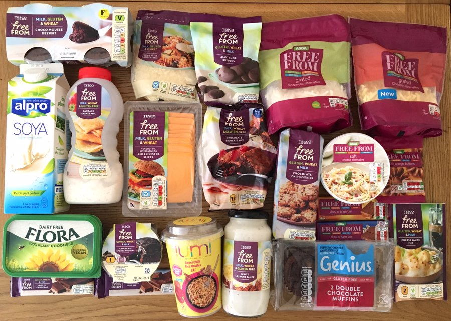 array of dairy free food items