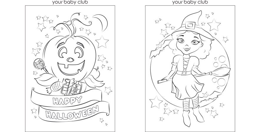 your baby club halloween colouring page pumpkin witch
