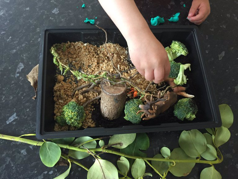 forest mini-sensory tray
