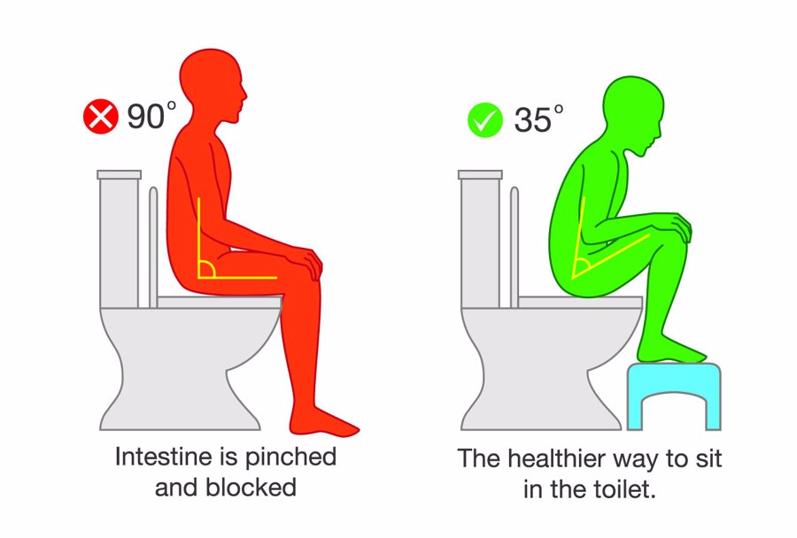 proper angle to sit on the toilet